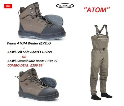 Vision Atom Breathable Chest Waders And Koski Boots* 2021 Stock * WADERS + Boots • 259.99£