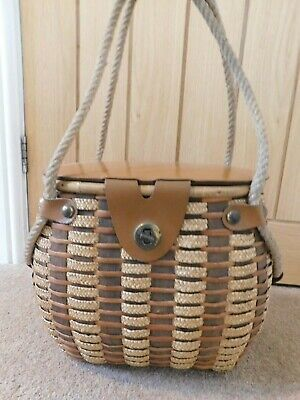 Vintage Split Wood Leather Straw Fishing Creel Yorkshire 50's Decorator Handbag • 75£