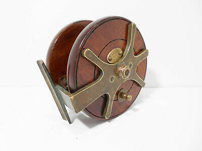Vintage Antique 5  Farlow Frogback Wooden Brass Nottingham Fishing Reel • 300£