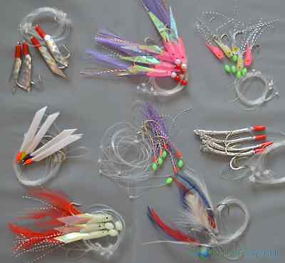 5 Packs Mackerel Feathers Bass Cod Lure Lures Sea Fishing Rigs Tackle Boat • 5.45£