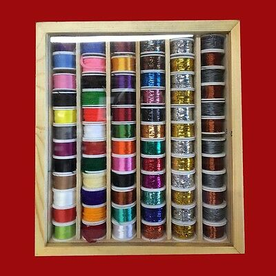 72 Spools Of Fly Tying Thread, Tinsel, Floss, Wool, Copper And Lead Wires • 32.90£