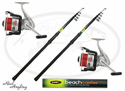 2x NGT 12ft Telescopic Beachcaster Sea Fishing Rod Combo Vigor SIlk 70 Sea Reel  • 141.99£