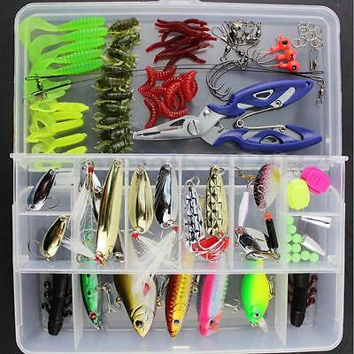 101Pcs Fishing Lures Spinners Plugs Spoons Soft Bait Pike Trout Salmon+Box Set  • 19.49£