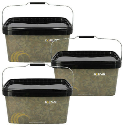 3 X CAMO FISHING BAIT BUCKETS 12.5 LITRE CARP FISHING BAITS BOILIES RESEALABLE L • 14.95£