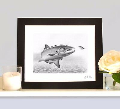 FRESH RUN SALMON ON THE FLY Fishing Fish Art Print MOUNTED Picture  • 9.99£