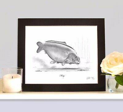 MARY Legendary Carp Art Print MOUNTED Picture Present For Fisherman Angler • 9.99£