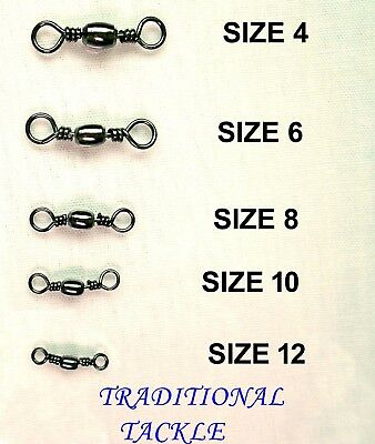 BARREL SWIVELS  SIZES 4,6, 8, 10 And 12 - SEA FISHING RIG LINKS • 21.16£