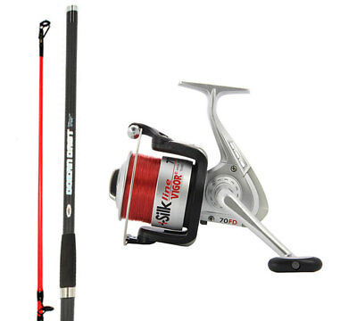 14ft Oceancast Beach Caster Sea Fishing Rods & Reel Set Silk 70 Reels Lineaeffe • 49.99£