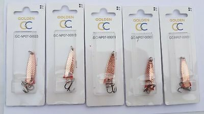 5 X 4g COPPER TOBY TOBIX Type Salmon Pike Lure Spinner, UK STOCK, TOP QUALITY • 4.99£