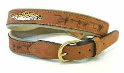 Brown Trout Nubuc Leather Belt - Fishing Angling Game Fly Gift Present • 21.50£