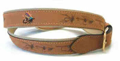 Salmon Fly Nubuc Leather Belt- Fishing Angling Game Fly Gift Present • 9.99£