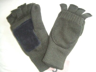 Green Suede Palm Insulated Thermal Lined Winter Fishing Gloves Cap Mitts Mittens • 11.95£