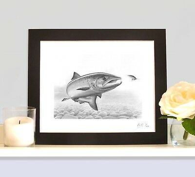FRESH RUN SALMON ON THE FLY Game Fishing Drawing Art Picture Print Willie Gunn  • 9.99£