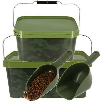 Baiting Spoon Camo Bait Buckets For Boilies Pellets Carp Fishing Scoop Tackle • 7.49£