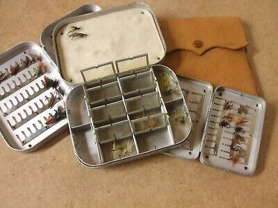 Vintage Wheatley Fly Boxes X 3 Off + Leather Cast Wallet  **Lovely Collection** • 79.95£
