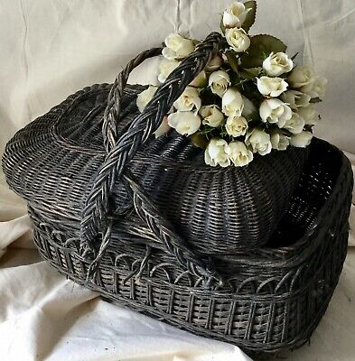 Chateau French Vintage Wicker Creel Fishing Basket Display Storage Film Prop • 39.99£