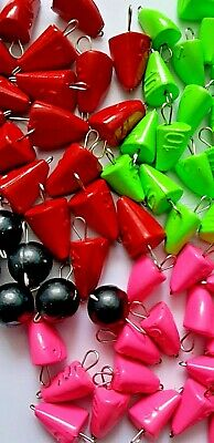 5pcs JIG HEAD WEIGHT SINKERS FOR SOFT LURES CHEBURASHKA RED BLACK PINK GREEN  • 1.90£