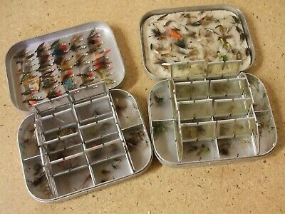 2 X Genuine Wheatley Aluminium DRY / WET Fly Box, Crammed With Dry And Wet Flies • 79.95£