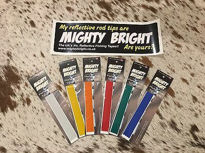 Mighty Bright Reflective Tip Tape - 12 /305mm ORIGINAL RANGE For Sea Fishing Rod • 3.99£