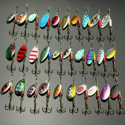 30x Metal Spinners Fishing Lures Sea Trout Pike Perch Salmon Bass Fishing Tackle • 7.39£