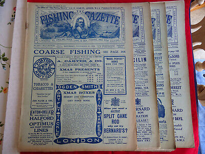 4x Vintage 1920's Fishing Gazette Newspapers Lots Of Early Fishing Adverts • 39.99£