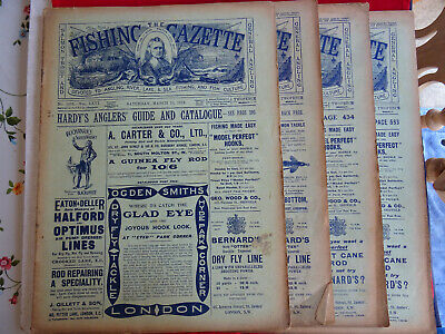 4x Vintage 1913 Fishing Gazette Newspapers Lots Of Early Fishing Adverts • 39.99£