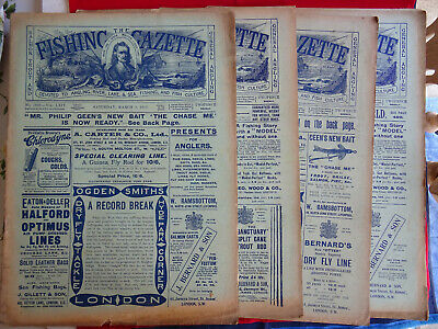 4x Vintage 1912 Fishing Gazette Newspapers Lots Of Early Fishing Adverts • 39.99£
