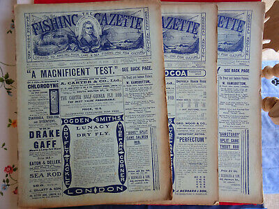 3x Vintage 1910 Fishing Gazette Newspapers Lots Of Early Fishing Adverts • 32.99£