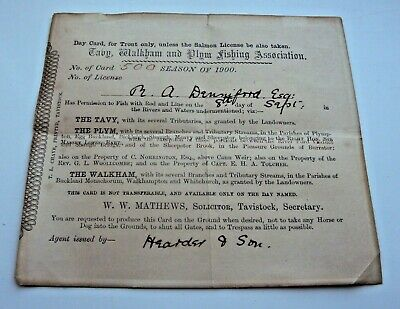 1900 Taby, Walkham & Plym Trout Fishing Licence Issued To M A Denniford • 9.99£
