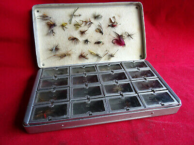 A Good Vintage Allcock's 16 Window Dry Fly Box And Flies • 59.99£