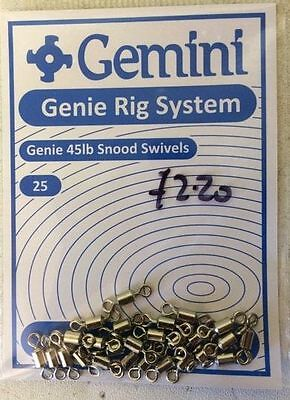 Gemini Rig System - Genie 45lb Snood Swivels - 25's • 2.30£