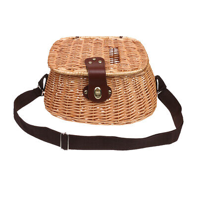 Wicker Creel Fish Basket Vintage Fisherman Traps Pouch Cage Tackle Case Bag • 24.25£