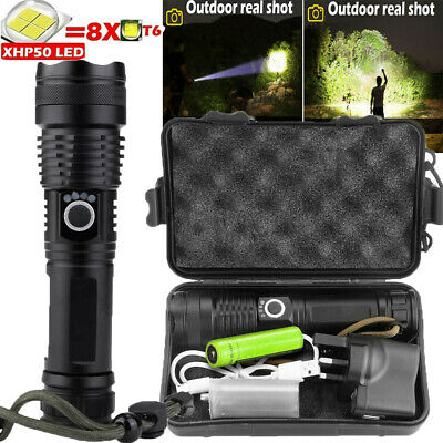 900000Lumens Super Bright XHP50 Zoom Flashlight LED Rechargeable Torch Headlamp • 13.29£