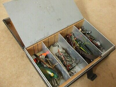 Vintage  Fishing Bait Box Crammed With Vintage Lures + Casts, Etc   (Inc Hardy) • 79.95£