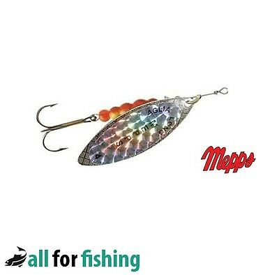 Mepps Aglia Long Spoon Lures Silver/Gold/Rainbow/Redbo - 5 Colours  All Size • 3.98£