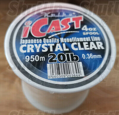 Koike ICast Quality Mono Clear Fishing Line 4oz Spools 20lb To 80lb Sizes • 7.49£