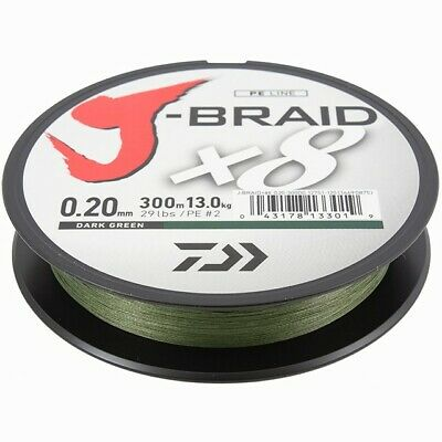 Daiwa J-Braid X8 300m Braided Fishing Line - Dark Green - All Breaking Strains! • 21.90£