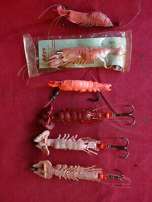 A Collection Of Vintage Artificial Prawn Lures Inc. Adys & Unnamed Percy Wadham • 19.99£