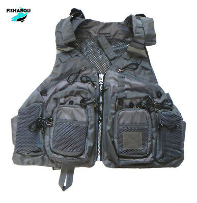 GREY FISHING VEST,  MESH BACK Lots Of Pockets, Quick Dry BRAND NEW • 31.99£