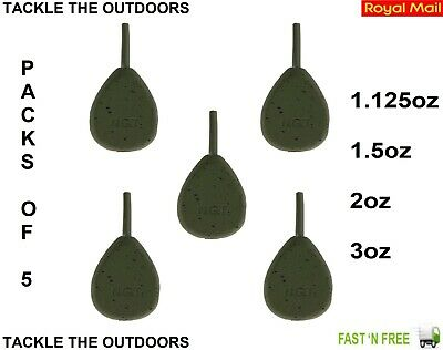 NGT Carp Coarse Fishing Leads Inline Weights Coated Flat Pear Ledgers 1.125-3oz • 9.18£