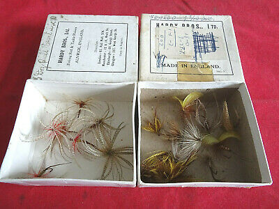 2 Vintage Hardy Card Retail Boxes With A Collection Of Mayflies • 29.99£