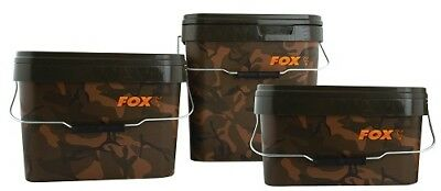 Fox Carp Fishing Camo Square Buckets • 8.45£