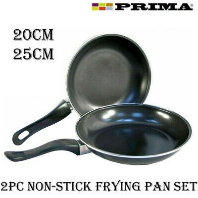New 2pc Frying Pan Set Non Stick Coated Aluminium Fry Cooking Kitchen 20cm 25cm • 8.95£