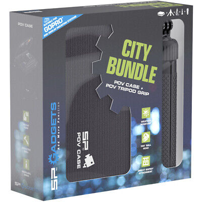 SP Gadgets City Bundle POV Case Dlx & POV Tripod Grip For Action Cameras Black • 44.99£