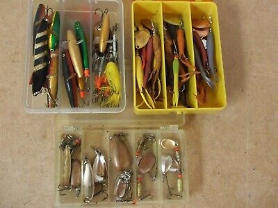 Three Quality Plastic Boxes Complete With 50 Off Minnows / Spinners. • 45£