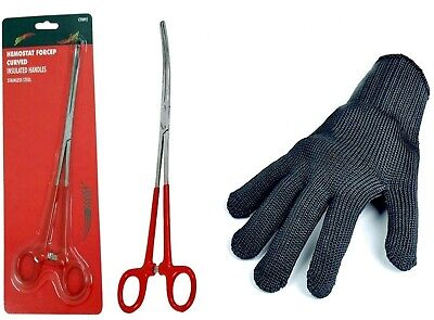Quality 12  Curved Forceps & Pike/filleting Glove • 11.99£