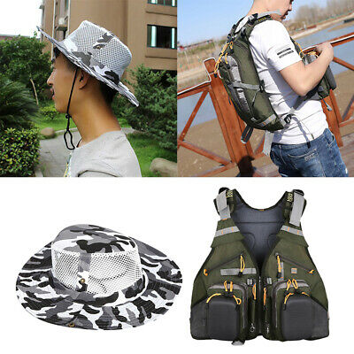 Outdoors Universal Fit Fly Fishing Vest With Unisex Wide Brim Sun Safari Hat • 37.04£