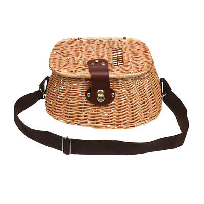 Wicker Creel   Basket Vintage Fisherman Traps Pouch Cage Tackle Case Bag • 31.32£
