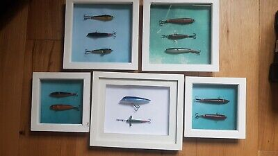 Vintage Devon Minnows  And Pike Plug Mounted In 5 Frames • 10£