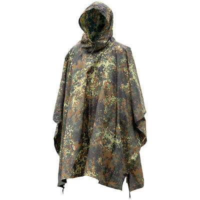 German Waterproof Ripstop Hooded Poncho Army Cadet Festival Basha Flecktarn Camo • 23.95£